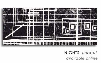 NIGHTS  linocut